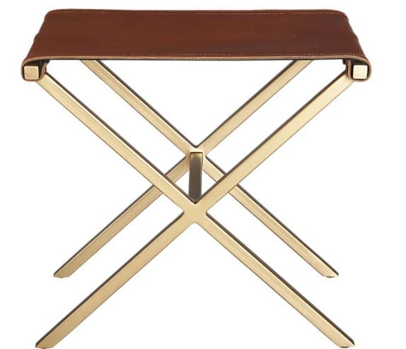 Botswana Leather Stool Burnt Caramel-Bibilo