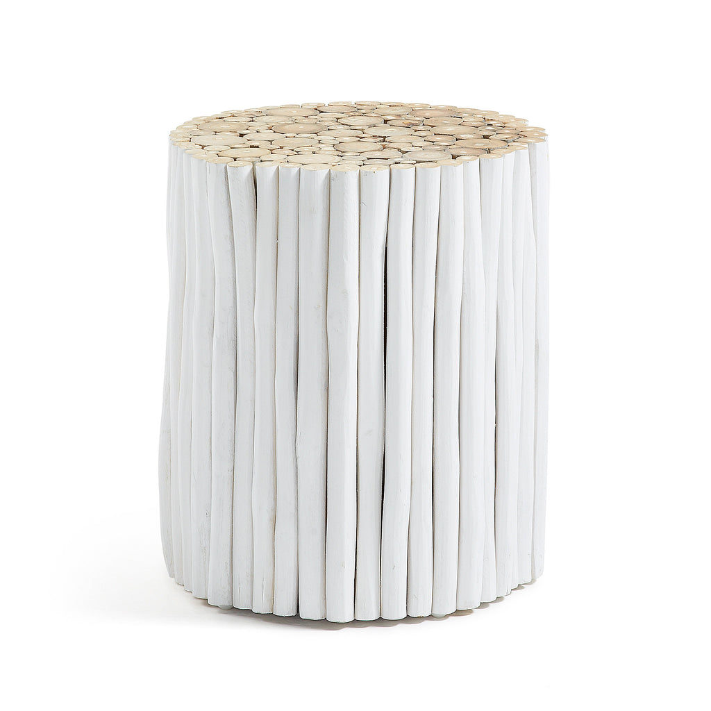 Husk Side Table Teak White-Bibilo