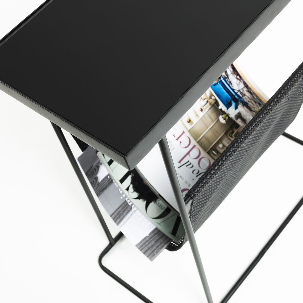 Map Side Table with Storage Black-Bibilo