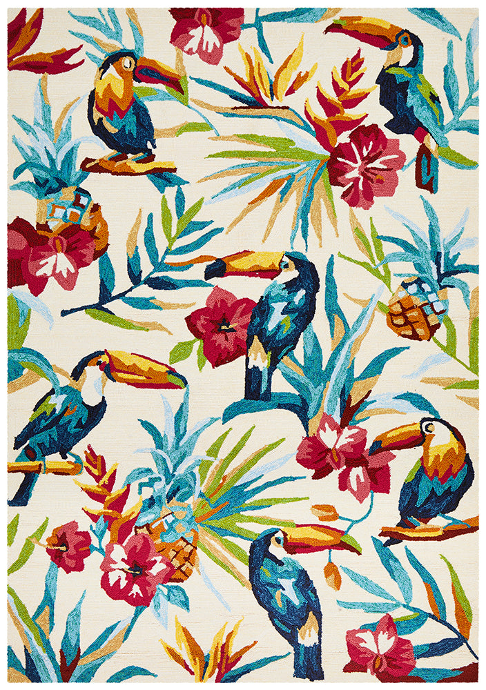 Toucan Tropical Indoor Outdoor Cream Rug-Bibilo