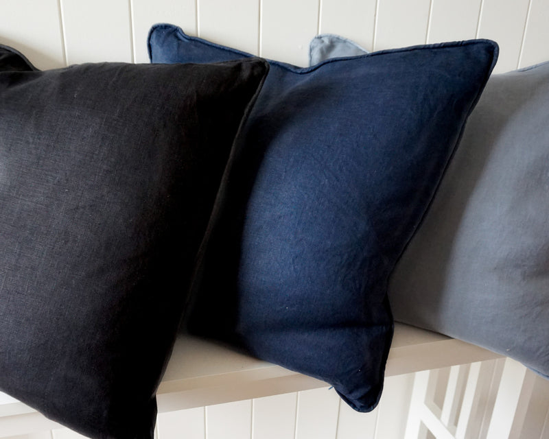 Sorrento Linen Feather 50cm Cushion Navy Set of 2-Bibilo