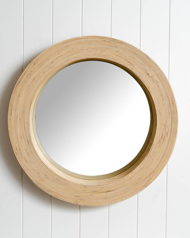 Luna Round Mirror White Wash-Bibilo