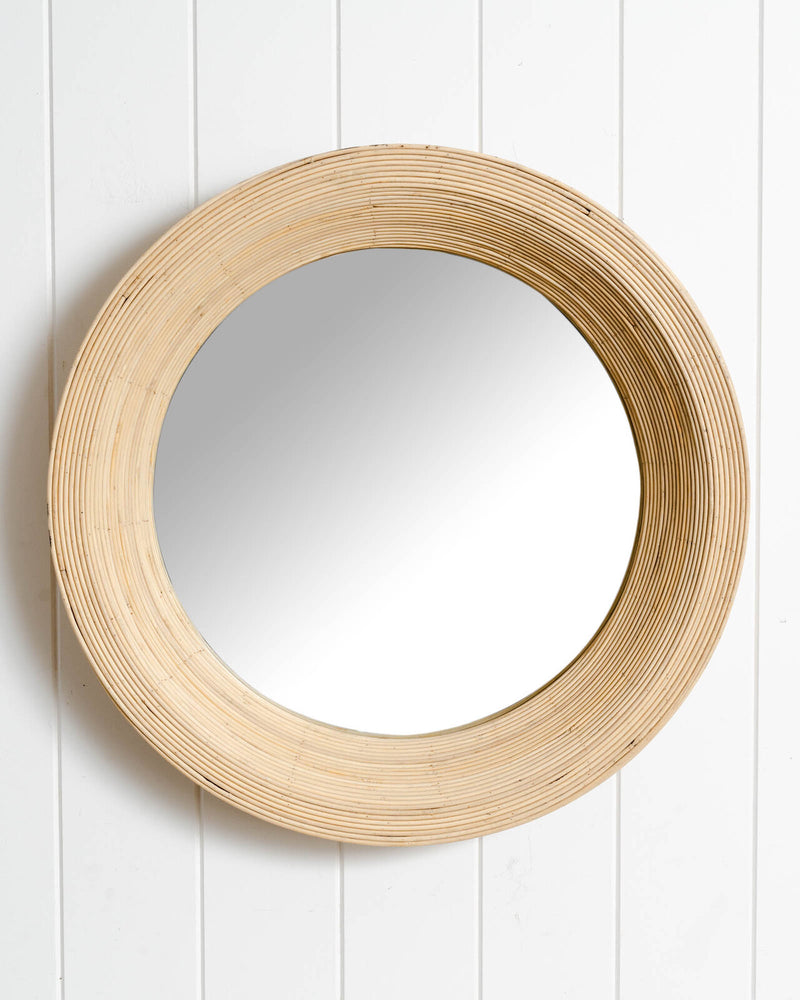 Anna Round Mirror White Wash-Bibilo