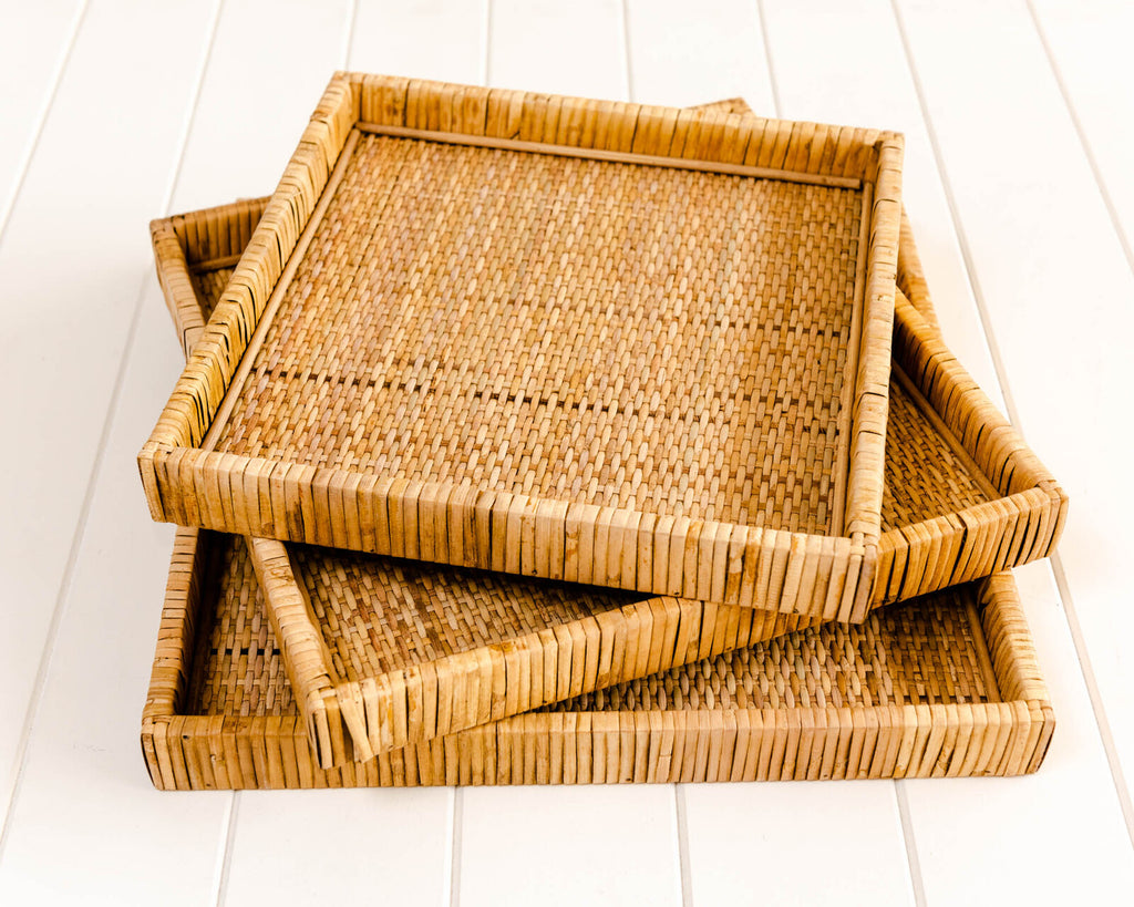 Dunes Square Trays Set of 3 Natural-Bibilo