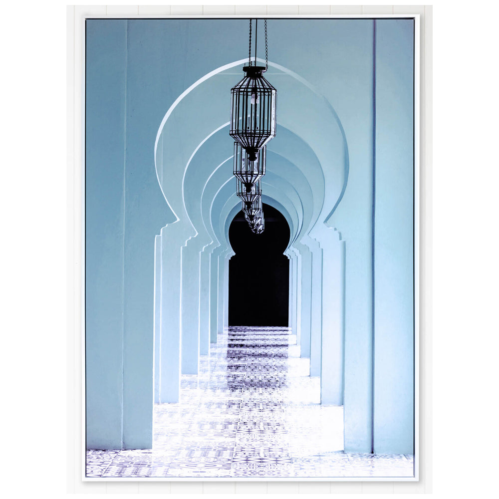 Teal Archways to Morocco Framed Canvas Print-Bibilo