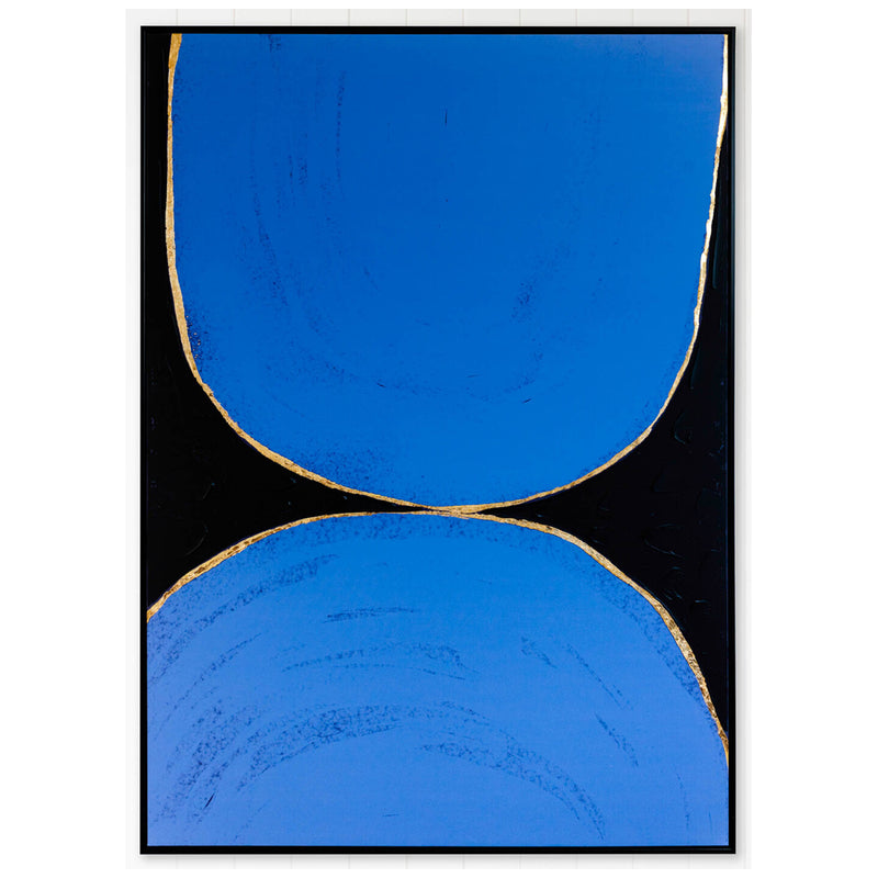 Abstract Blues & Gold Organic Framed Canvas-Bibilo