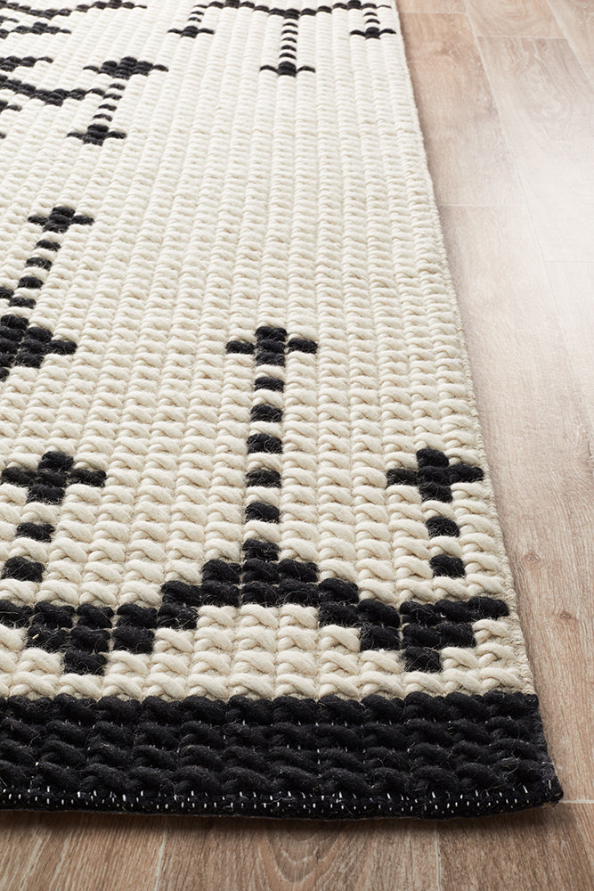 Rhea Cross Stitch Black & White Rug-Bibilo