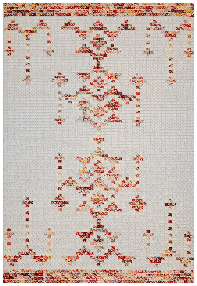 Rhea Cross Stitch Rust & Burgandy Rug-Bibilo
