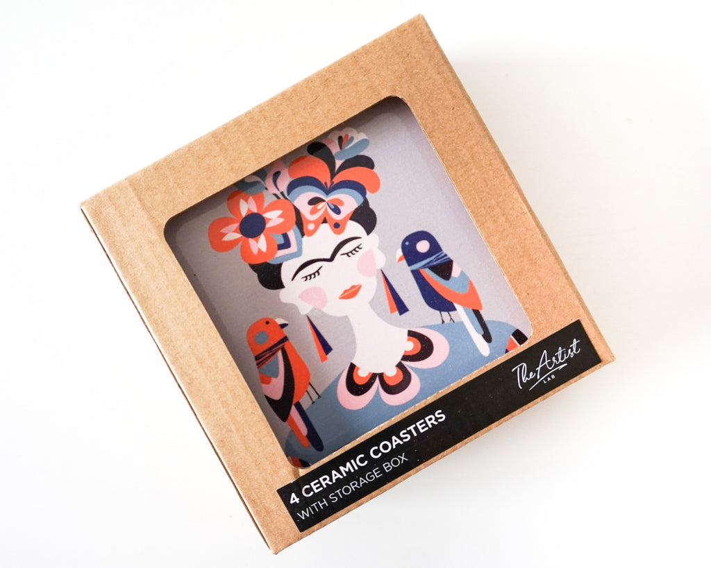 Frida Kahlo Ceramic Coaster Set of 4-Bibilo