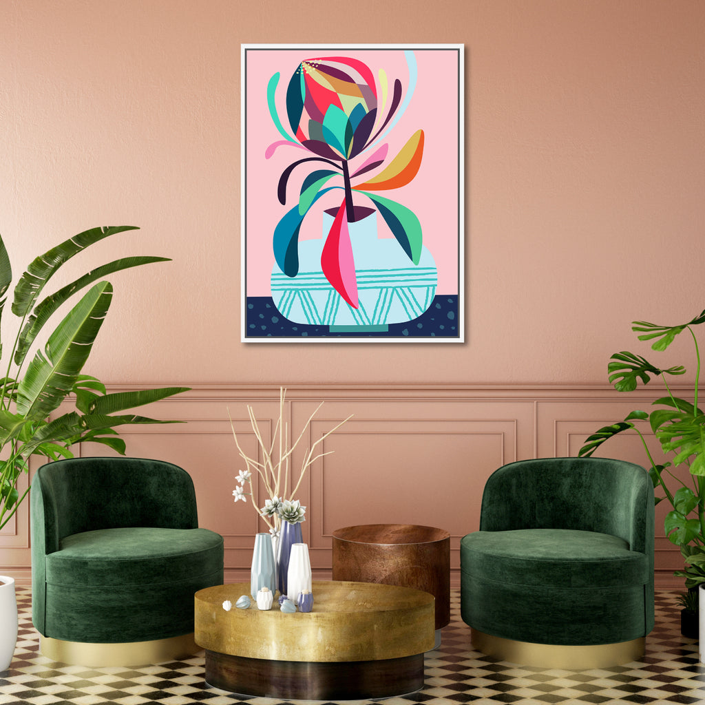 Protea Framed Canvas Print-Bibilo