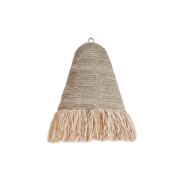 Fringe Raffia Pendant Medium Natural-Bibilo