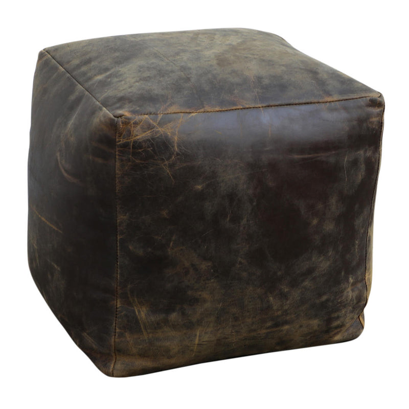 Sherpa Vintage Leather Ottoman Chocolate-Bibilo