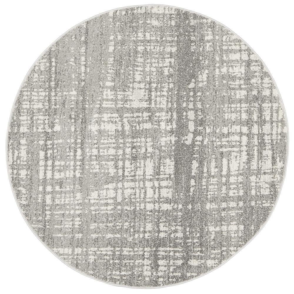 Ashley Silver Grey Round Rug-Bibilo