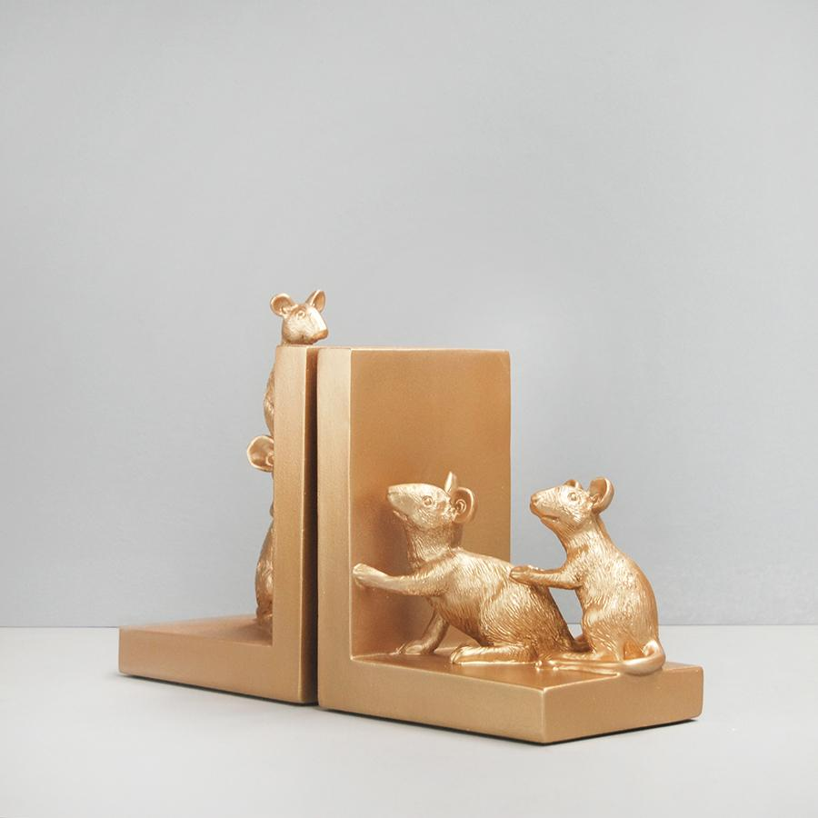 Busy Mice Bookends Gold-Bibilo