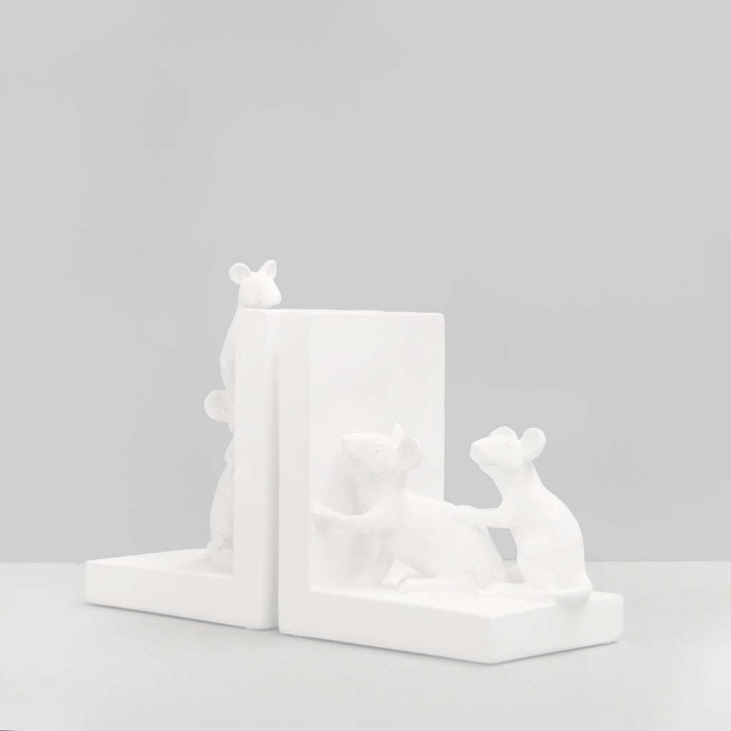 Busy Mice Bookends White-Bibilo