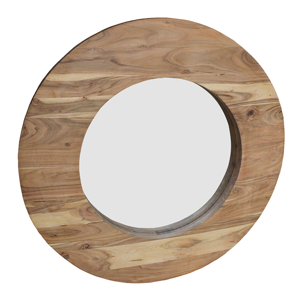 Oakley Round Wooden Mirror Natural-Bibilo