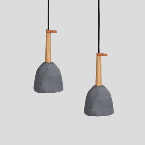 Diamond Geometric Concrete Pendant Dark Grey-Bibilo