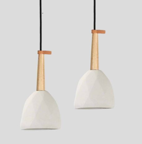 Diamond Geometric Concrete Pendant White-Bibilo