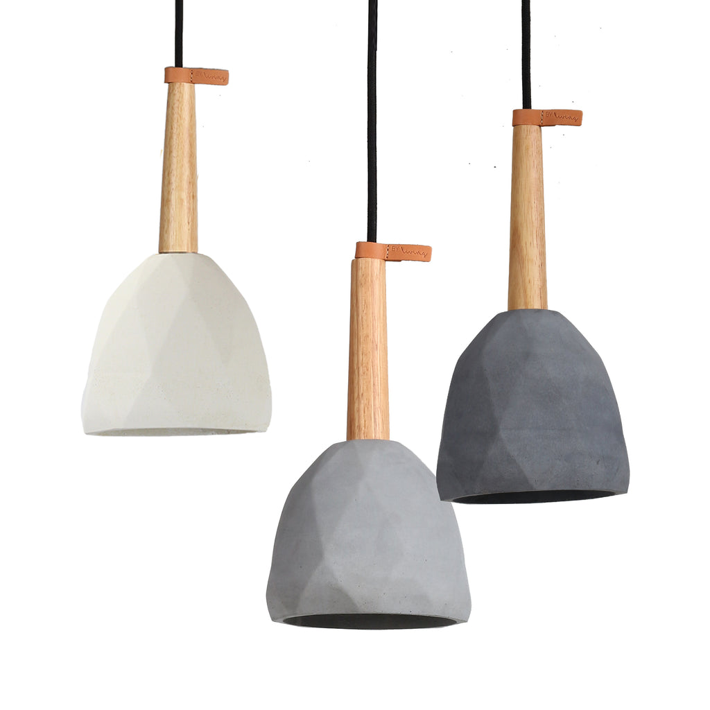 Diamond Geometric Concrete Pendant Grey-Bibilo