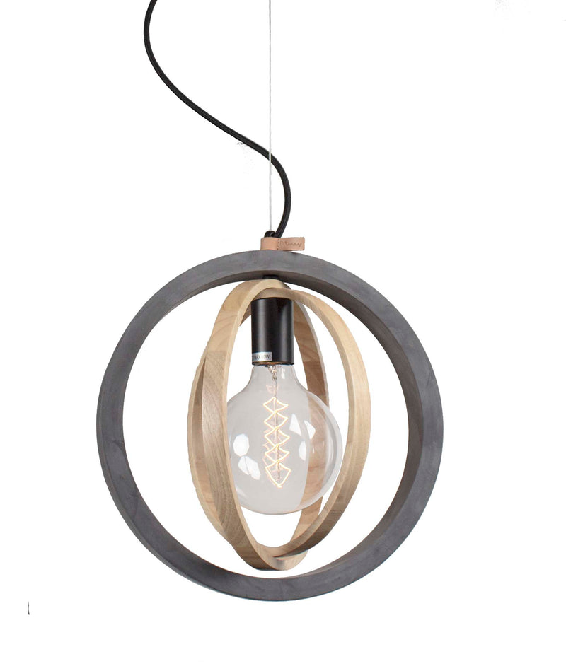 Rings Timber Concrete Pendant Black Dark Grey-Bibilo