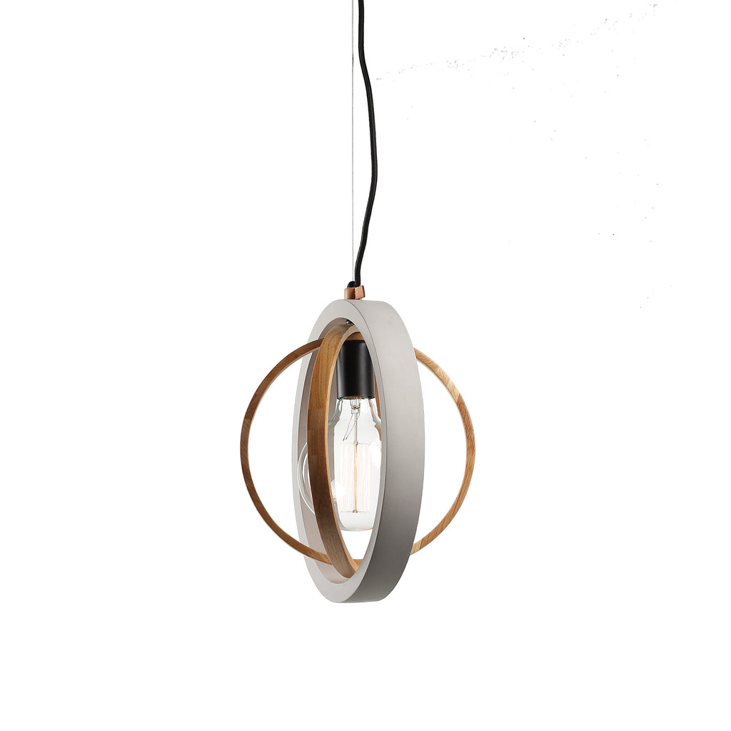 Rings Timber & Concrete Pendant Black Light Grey-Bibilo