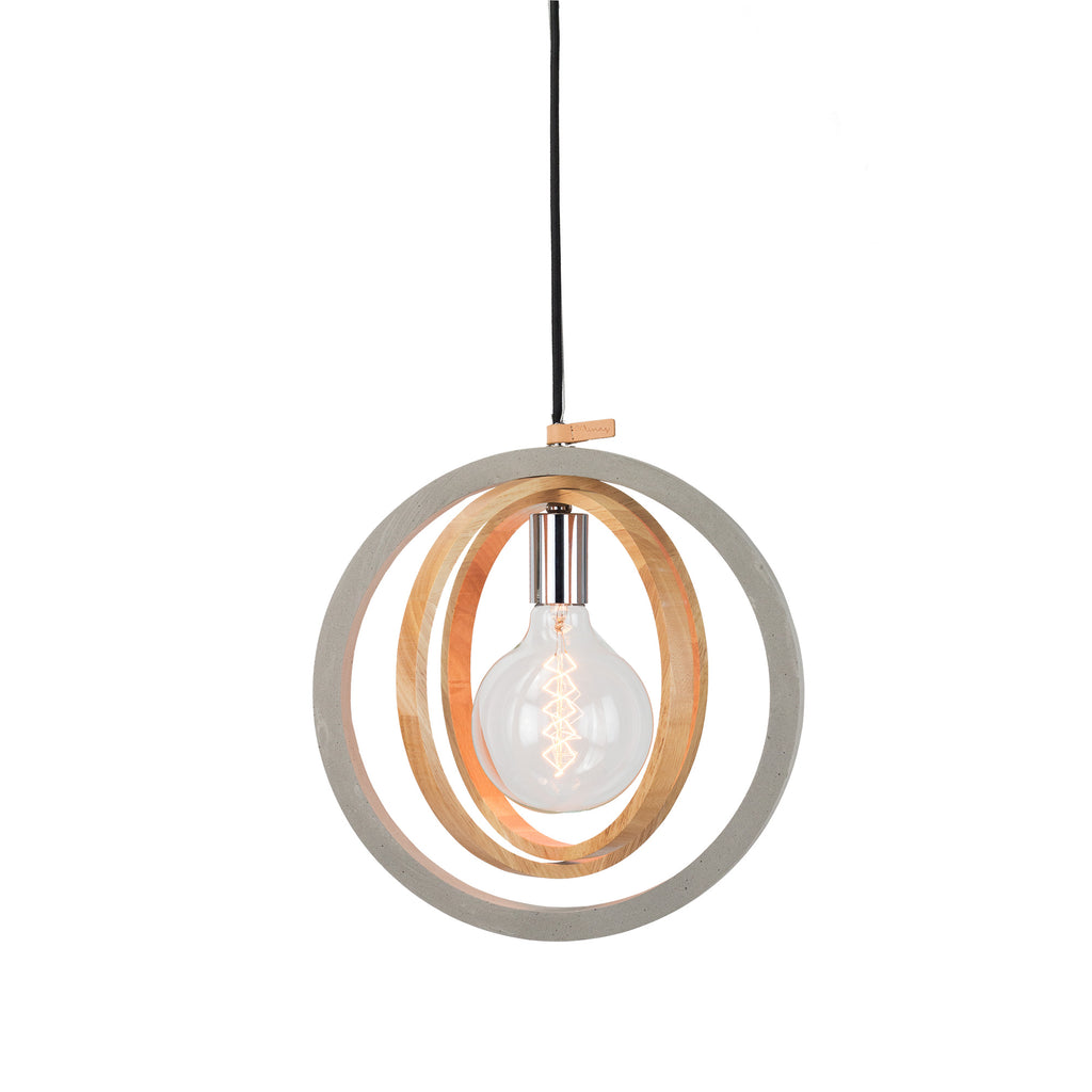 Rings Timber Concrete Pendant Chrome Grey-Bibilo