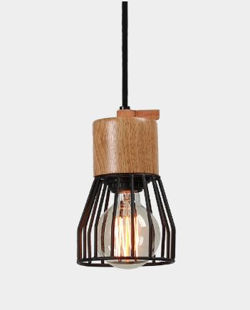 Metal Cage Timber Pendant-Bibilo