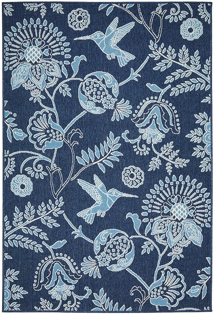 Blossom Indoor - Outdoor Blue Rug-Bibilo