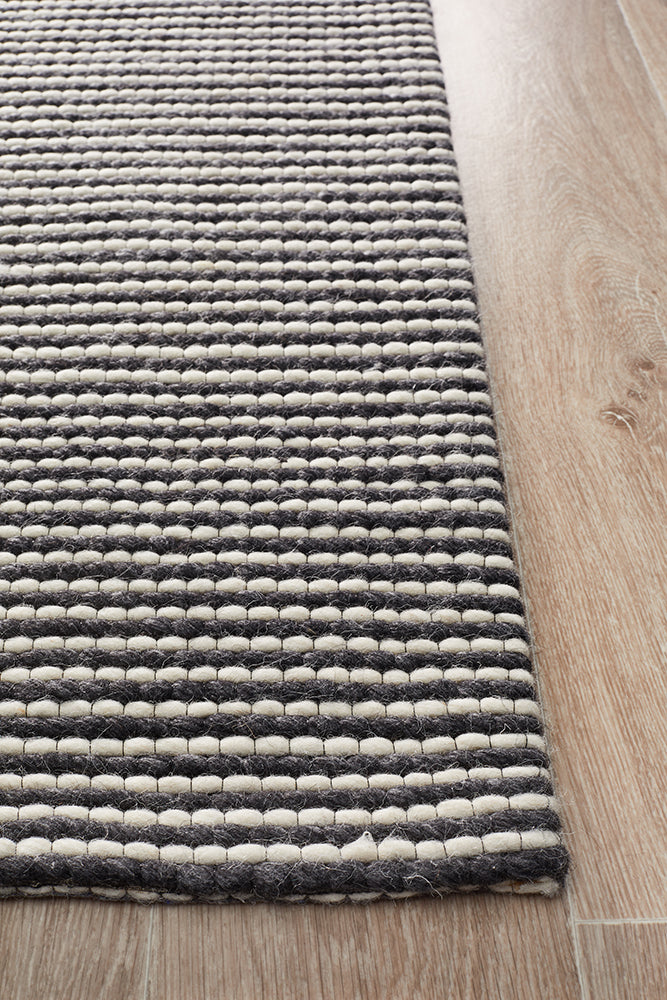 Oskar Felted Wool Striped Black & White Rug-Bibilo