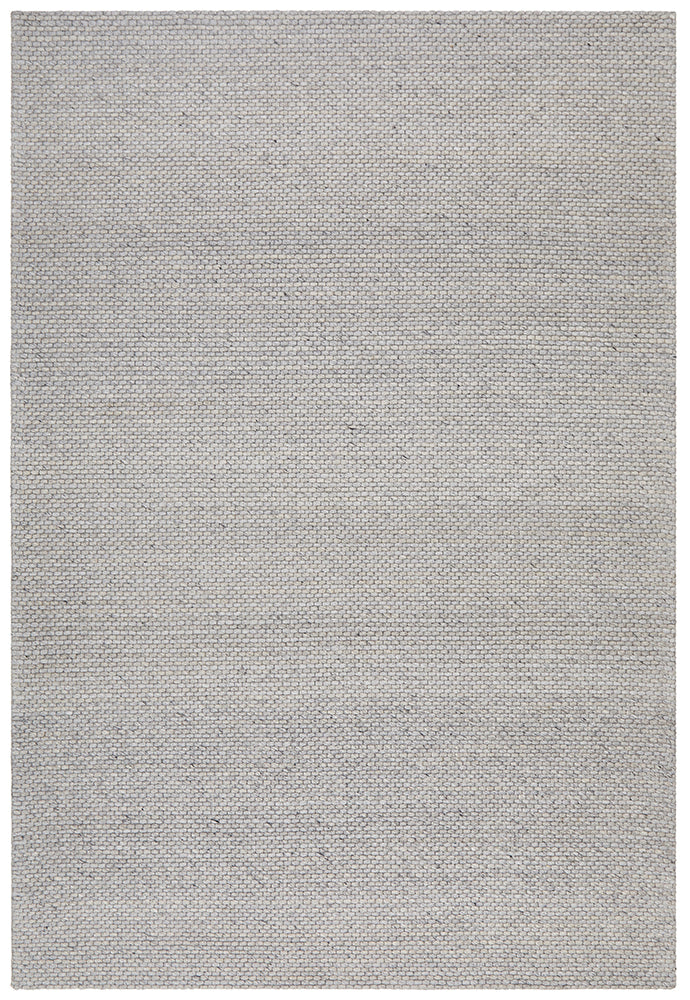 Oskar Felted Wool Striped Grey Rug-Bibilo