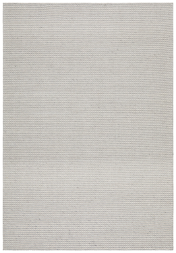 Oskar Felted Wool Striped Grey & White Rug-Bibilo