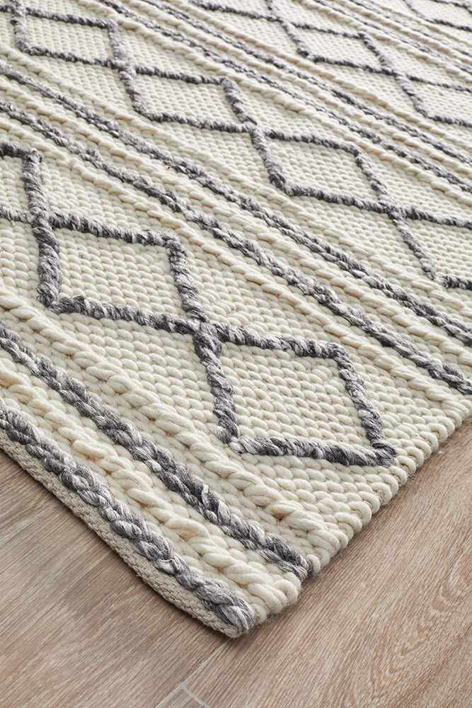 Milly Woollen White & Grey Rug-Bibilo