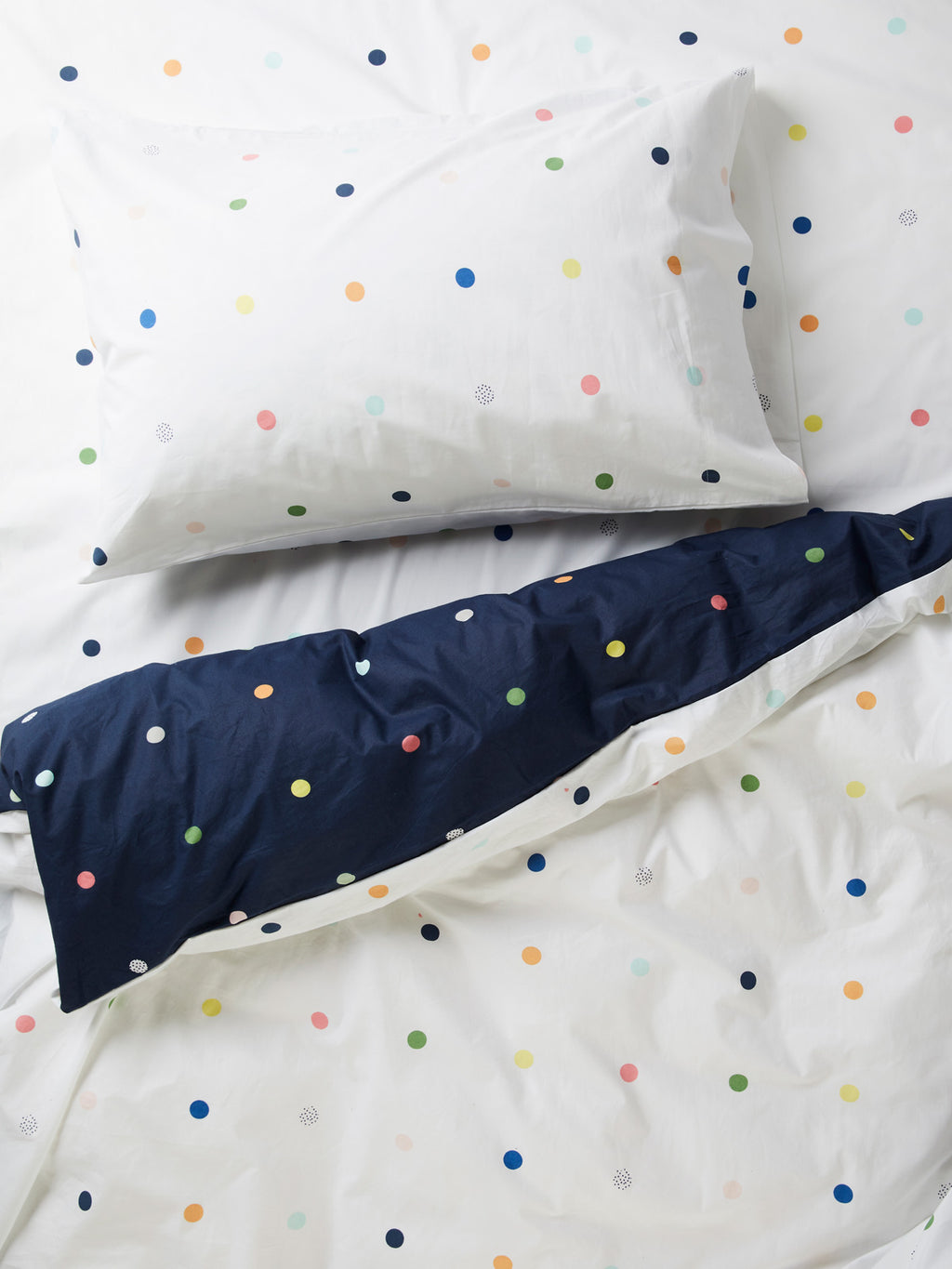Spot & Dot Reversible Quilt Cover - White/Night Sky-Bibilo