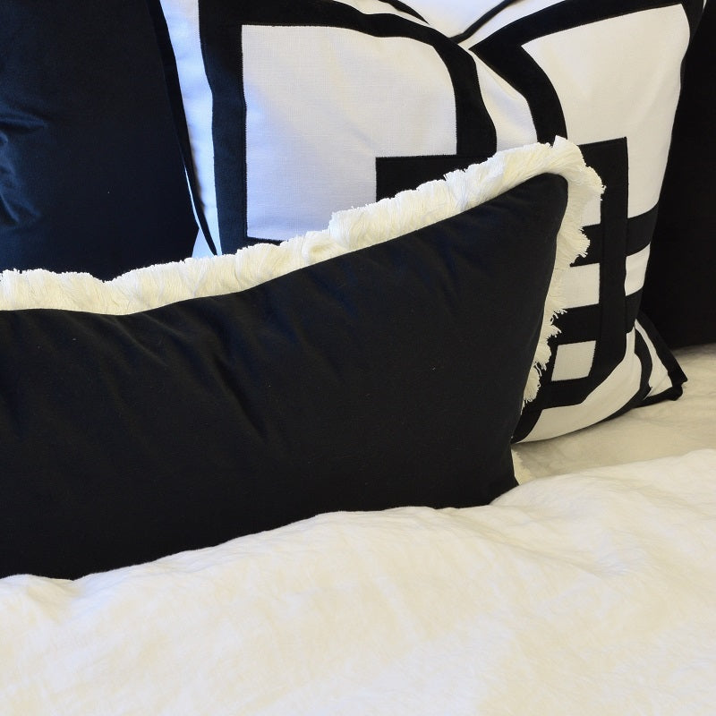 St. Kilda Black Rectangle Cushion Cover-Bibilo