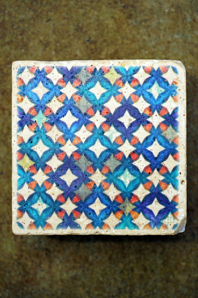 Vintage 10cm Travertine Tiles Various Designs Set of 4-Bibilo