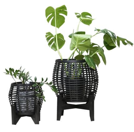 Whittaker Bamboo Planters Set of 2 Black-Bibilo