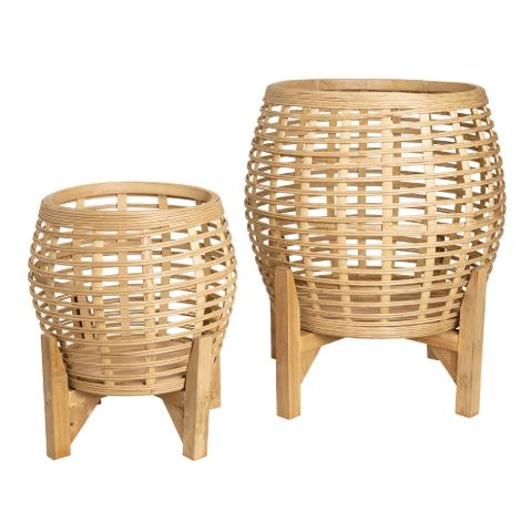 Whittaker Bamboo Planters Set of 2 Natural-Bibilo