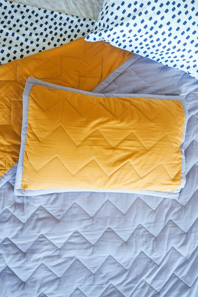 Zig & Zag Quilted Single Pillowcase - Golden Sun/Dusky Lilac-Bibilo