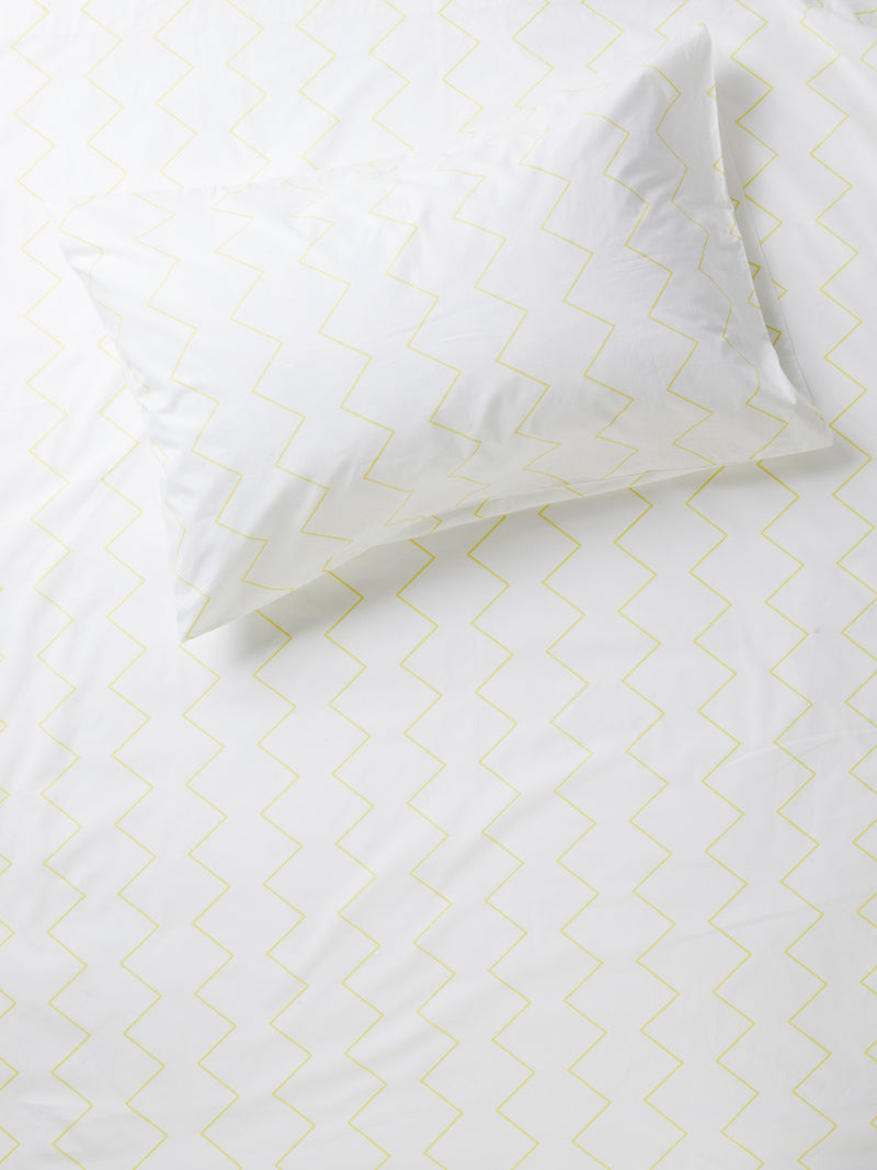 Zig & Zag Flat Sheet - White/Sunshine-Bibilo