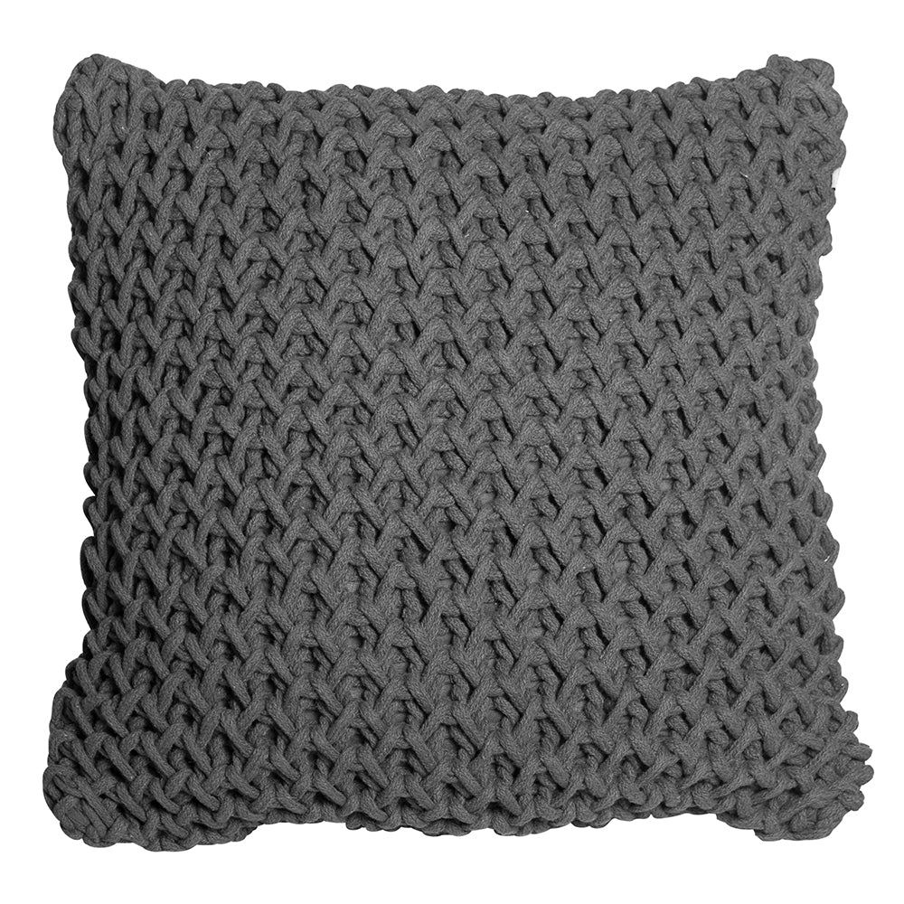 Zara Sqaure Handknit 50cm Cushion Charcoal Set of 2-Bibilo