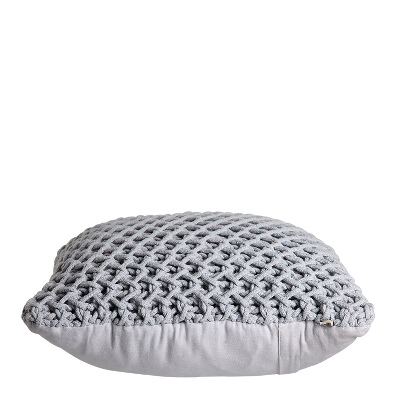 Zara Sqaure Handknit 50cm Cushion Grey Set of 2-Bibilo
