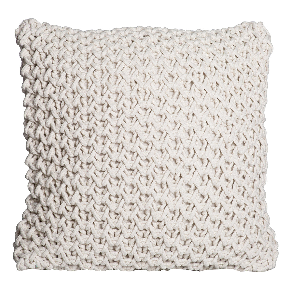 Zara Sqaure Handknit 50cm Cushion Ivory Set of 2-Bibilo