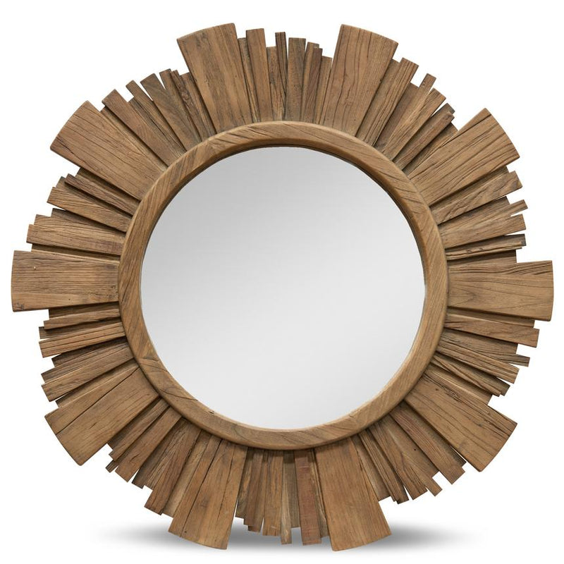 Ray Recycled Elm Round Mirror Natural-Bibilo