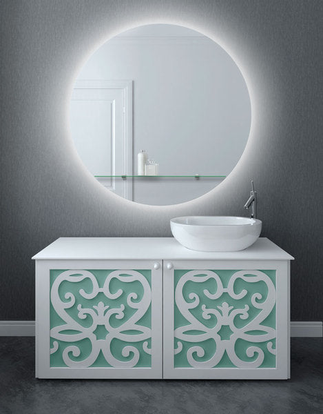 Evora Round 90cm Cool White Backlit Mirror-Bibilo