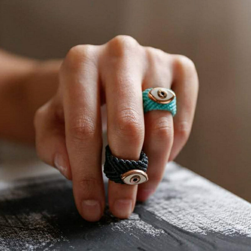 Mati Handmade Ring Black with White Eye-Bibilo