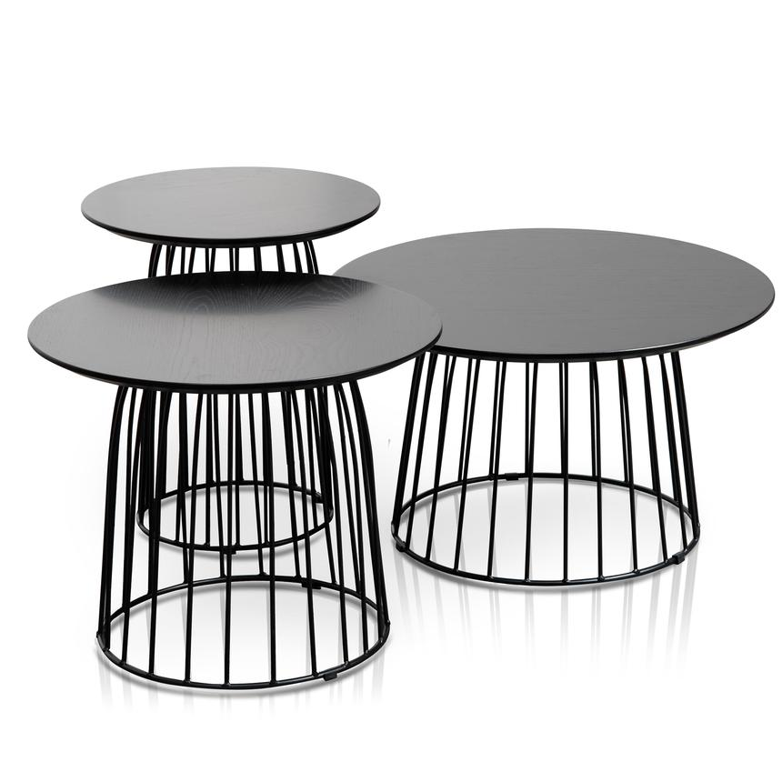 Tria Side Tables Set of 3 Black-Bibilo