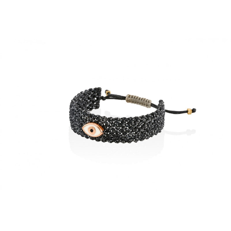 Mati Handmade Bracelet Black Fleck with White Eye-Bibilo
