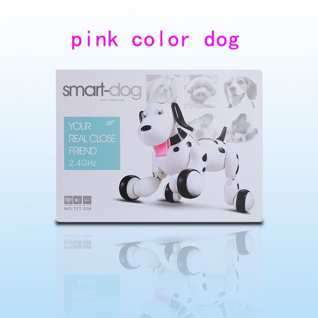 2018 Lovely 777-338 RC Robot Smart Dog 2 4G RC Intelligent Simulation Mini  Dog White Pink RC Toys For Kids Christmas Gift