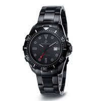 U.S. Marine Corps Stealth C39 | Analog Display Quartz Watch with Unidirectional Rotating Bezel and Metal Bracelet