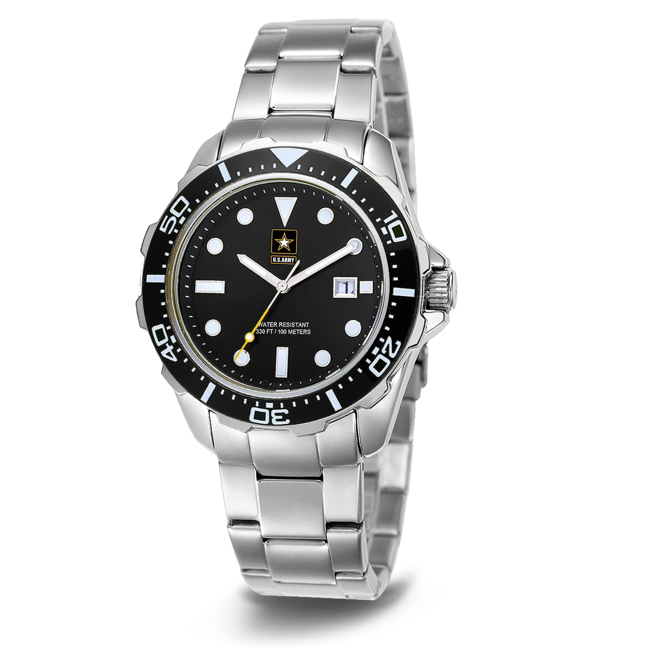 U.S. Army C39 | Analog Display Quartz Watch with Unidirectional Rotating Bezel and Metal Bracelet